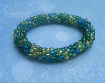Forest Colored Seed Bead Crochet Bracelet