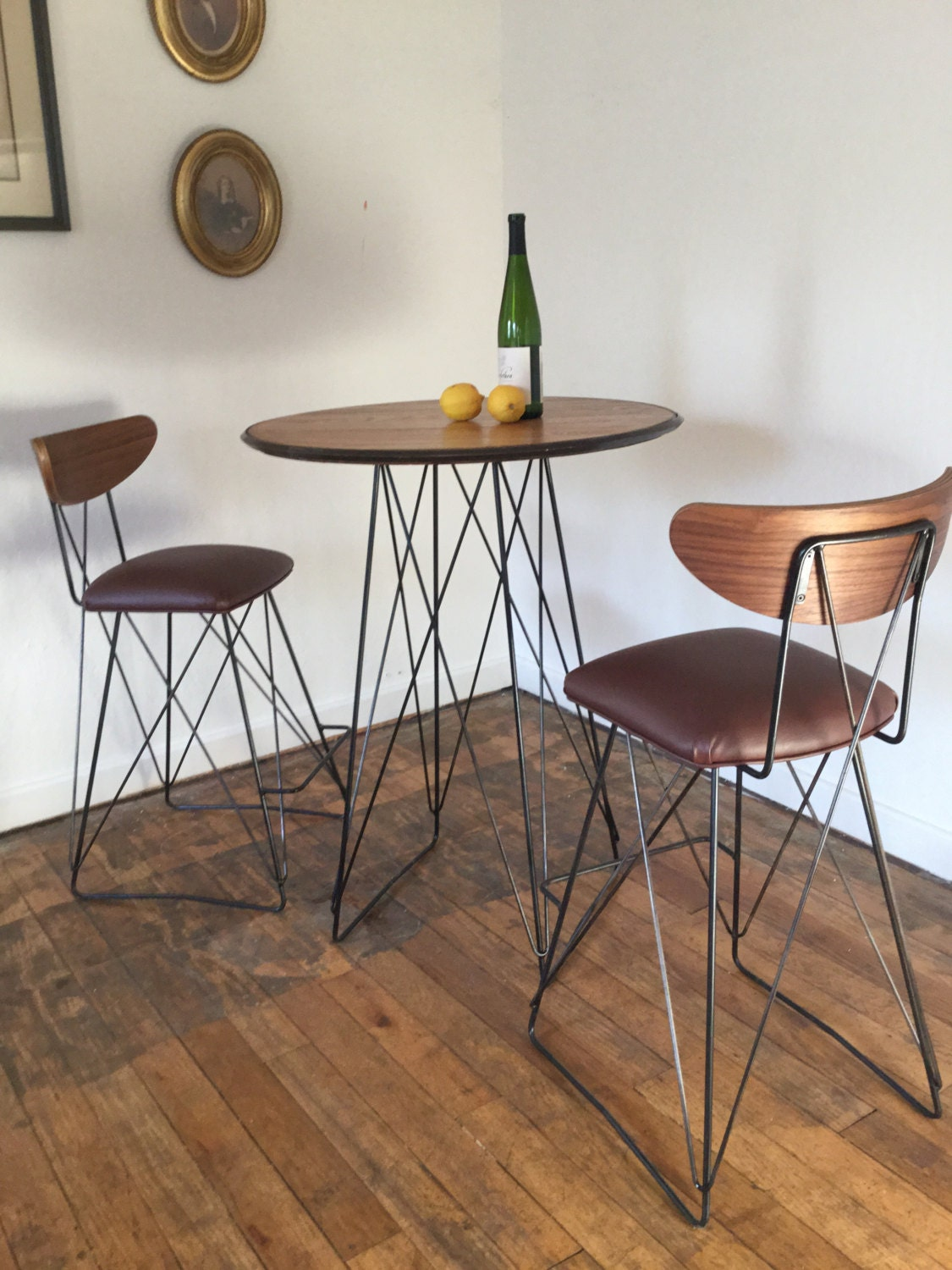 Mid century cats cradle bar table base raw steel base only for Mid century bistro table