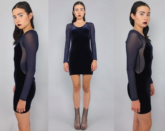 Vtg 90s Navy Velvet Mesh Sheer Cut Out Minimalist Mini Dress S-M