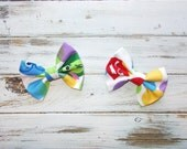 Inside Out Inspired Hair Bow Clip/Inside Out Inspired Cotton Fabric Hair Bow/Infant, Toddler, Girls Small Hair Bow/Boys Bow Tie Clip