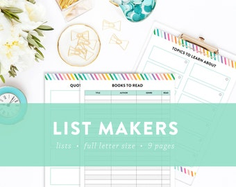 EDITABLE - Colorful List Makers Kit - Places to go, Books to read, Movies to watch, Recipes to try, and more -  INSTANT DOWNLOAD