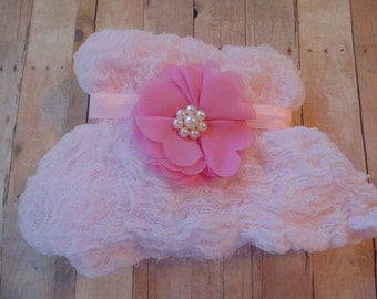Pink Petal  flower And Baby Pink wrap.. Baby Girl Headbands.. Photo Prop..   Girl Headbands...Newborn Headbands..