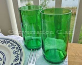 Pellegrino Bottle Green Glass Tumblers Set of 2