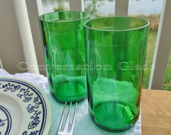 Pellegrino Bottle Green Glass Tumblers Set of 2