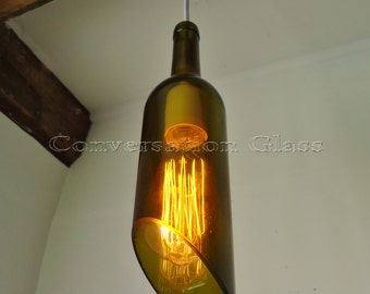 Wine Bottle Hanging Pendant Lamp with Vintage Style Edison Bulb