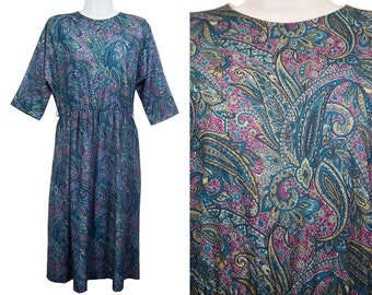 10 Dollar Sale---Vintage 70's CALOFORNIA LOOKS Green & Blue Paisley Pattern Dress M