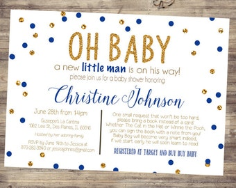 Baby Boy Blue and Gold Baby Shower Invitations - Bring A Book Poem, Printable, Digital _1114