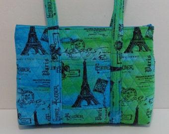 Paris Eiffel Tower Blue Green Batik Print Quilted Purse Quilted Handbag