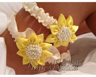 Sunflower Wedding Garter set in Ivory and Sunflower Yellow Satin, Lace, and Pearls, Yellow and Ivory Garter Set.