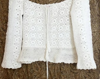 60's Mystical Fashions Hipster Crochet Double tassel Drawstring see through long sleeve shirt EUC Size M