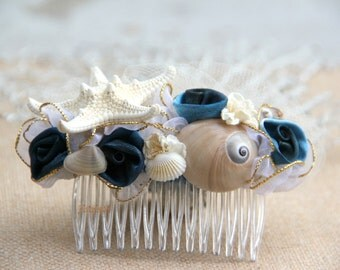 Marine Blue Seashell hair comb, Starfish hair comb, nautical hair comb, beach wedding accessories, seashell comb, star fish hair comb,
