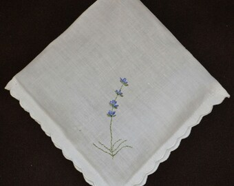 Organic Lavender Sachet, Made with Vintage Linen, Hand Embroidered