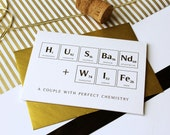 Perfect Chemistry Husband and Wife Greeting Card, Congratulations Wedding card