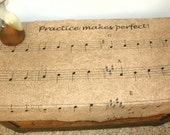 """MUSIC TABLE RUNNER - Treble staffs with notes and """"Practice Makes Perfect"""" - printed on cotton that looks like old sheet music"""