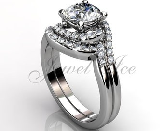 14k white gold three stone diamond engagement ring, bridal set, wedding ring, anniversary ring, engagement set  ER-1104-1