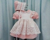 Baby, Toddler, Size 1, 2, 3, Pinafore and Dress with Hat and Bloomers, Choice of Dress Color, Classic, Heirloom Look