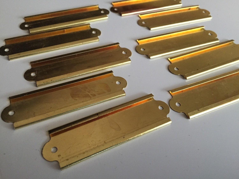 Vintage Set Of 10 Brass Labels Name Card Holder Plates