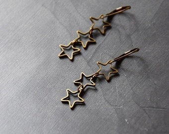 3 bronze stars earrings