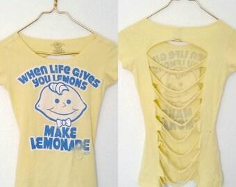 Upcycled Recycled Repurposed Kawaii Lemonheads Shredded Cotton Tee, Size XS - Kawaii Shirt Pop Kei Shirt Fairy Kei Shirt Spank! 90s