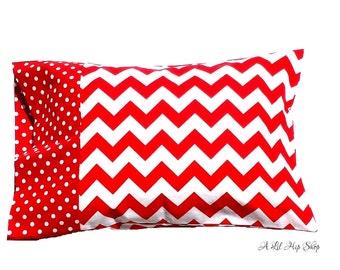 Travel Size Pillow Case//Red Chevron Print & Polka Dot//Christmas//Travel//Preschool//Baby//Girl//READY TO SHIP