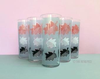 Hi-ball glasses with leaf print, set of five