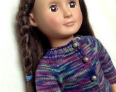 Purple Knitted Sweater For 18 Inch Dolls, American Girl Doll, Our Generation Doll