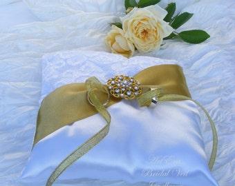 Rhinestone White Wedding Pillow - Wedding Ring Pillow - Bearer Ring Pillow - Lace Wedding Ring Pillow - Satin Wedding Ring Pillow