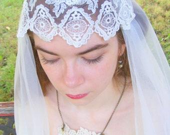 Wedding Veil, Bridal Veil, Juliet Cap veil, lace Veil, Cap Lace Veil, Length Bridal Veil, Ivory, ArtDeco