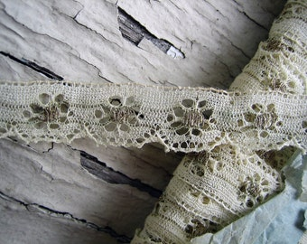 Antique French Lace with Metallic Thread Accents, approx 3/8th inch wide, listing is for 18 inches (Ref. A-3739)