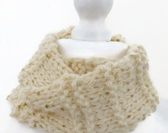 Cowl neck scarf, cream sequin cowl scarf, infinity scarf, hand knitted cowl.