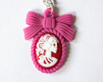 Pink Red & White Skeleton Cameo Necklace
