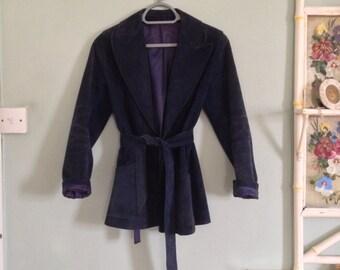 SALE 20% OFF Vintage 1970's Dark Navy Blue Suede Jacket Coat Long Sleeves S