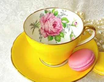 ADDERLEY Vintage Bone China Tea Cup and Saucer / Beautiful Yellow with Pink Rose/  Collectable