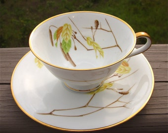 Heinrich Bavaria Germany Teacup, Saucer Set, Vintage China Replacement, Autumn