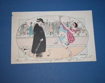 Rare Xavier Sager French Post Card Period Edwardian