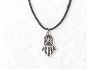 Hamsa Necklace, on Black Cord / men / women / teen / boys / Jewelry / Israel  / Judaica / Middle East / men's jewelry / women's jewelry