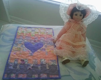 CHRISTINE Lim Edition  18 inch  PORCELAIN DOLL Handmade Doll Quilt,  Stand , and Box