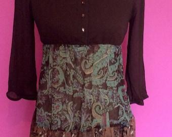 Brown boho / hippy long sleeved paisley print dress