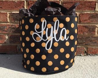 Embroidered Halloween Bag, Monogrammed Halloween Bucket, Personalized Halloween Treat Bag