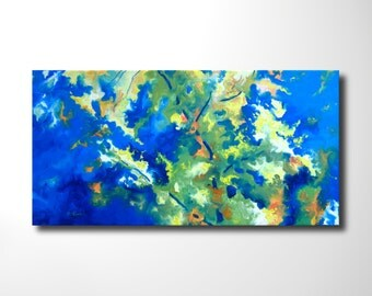 "original oil painting, abstract contemporay wall art, textured home decor, 40"" x 20"" x by Oliver Riedel"
