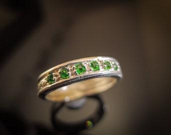 Superb Tsavorite Ring Green Garnet Ring Tsavorite Garnet Ring Silver Band Gemstone Band Green Gemstone Ring