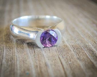 Purple Amethyst Ring , Silver Amethyst Ring , Deep Purple Amethyst Ring , Uruguay Amethyst Ring
