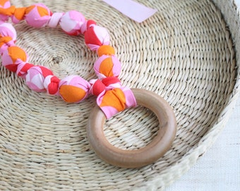 Fabric Necklace with Wood Ring Pendant,Teething Necklace, Chomping Necklace, Nursing Necklace - Pink, Orange, Coral Scale