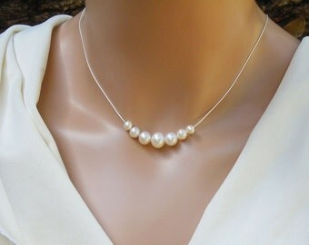 7 Pearl Necklace, Graduated Floating Freshwater Pearl  Necklace, Sterling Silver Fine Chain, Bride, Bridesmaid, Anniversary