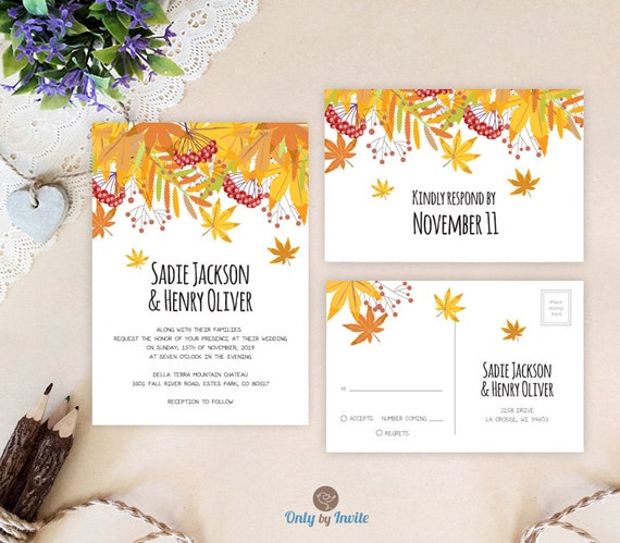 Autumn Wedding Invitations And RSVP Cards Printed By