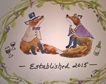 Custom Order Wedding gift memento Foxes Victorian Sally T Crisp