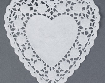 "6"" White HEART Paper Lace DOILIES with ROSES 