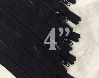 "christmasinjuly, 10 black zippers bulk zippers black zippers wholesale zippers 4 inch zippers ykk zippers 4"" zippers 4 inch ykk zippers"