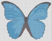 Blue Morpho Butterfly Cross Stitch Pattern Simple & Fun PDF