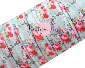 "Country Floral Bouquet- Fold Over Elastic- FOE- You Choose Yards- Foldover Print Elastic- Elastic by the Yard- 5/8"" Fold Over Elastic"